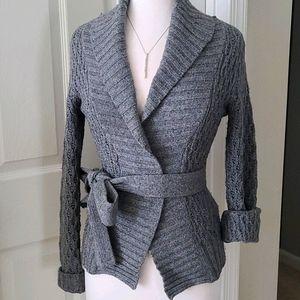Gray Knit Wrap & Tie Sweater